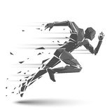 Geometric running man. In vector on white background