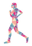 Geometric Running Person. A silhouette of a person running or jogging with a geometric pattern Royalty Free Stock Photos