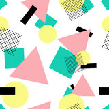 Geometric 80s fashion style seamless pattern Royalty Free Stock Photo