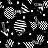 Geometric 80s retro pattern in black and white. Black and white retro seamless pattern with geometric shapes in 80s memphis fashion style. Ideal for web vector illustration