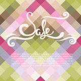 Geometric sale banner. With beautiful hand drawn text, vector illustration Stock Photo