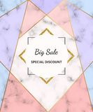 Geometric Sale banner with golden lines and pink, blue triangle shapes on the white marble texture. Modern background for design i. Nvitation, card, wedding vector illustration