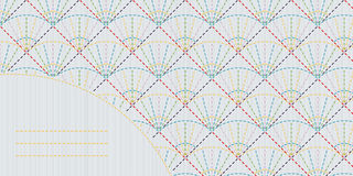 Geometric sashiko template with copy space for text. Royalty Free Stock Photos