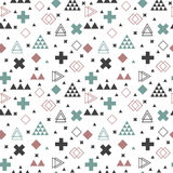 Geometric scandinavian seamless pattern. Abstract tribal. Background. Vector Stock Photo