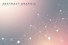 Geometric scientific background molecule and communication. Big data complex with compounds. Perspective graphic Stock Photography