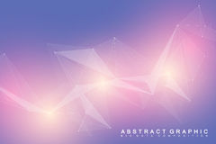 Geometric scientific background molecule and communication. Big data complex with compounds. Perspective graphic Royalty Free Stock Image