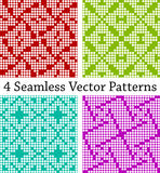 4 geometric seamless borders based on square patterns, vector illustration Royalty Free Stock Images