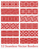 12 geometric seamless borders based on square patterns, vector illustration Royalty Free Stock Photos