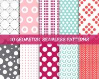 Geometric seamless dot patterns Stock Photo