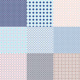 Geometric seamless ethnic background collection in blue and white Stock Photo