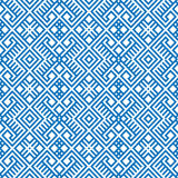 Geometric seamless ethnic pattern background in blue and white colors Royalty Free Stock Photography