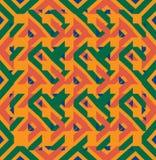 Geometric seamless green orange texture Stock Photos