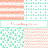 Geometric seamless pastel patterns with triangles and stripes Royalty Free Stock Photos
