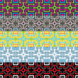 Geometric seamless pattern. In five color schemes Stock Photos