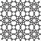 Geometric seamless pattern, Arabic ornament style, tiled design in black and white Royalty Free Stock Images