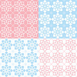 Geometric seamless pattern, Arabic ornament style, tiled design in pink and blue Royalty Free Stock Photography