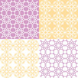 Geometric seamless pattern, Arabic ornament style, tiled design in purple and yellow Stock Image