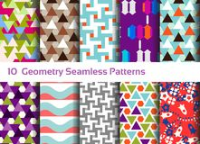 Geometric seamless pattern background. Set of 10 abstract motifs. Colorful shapes compositions, triangles, squares and waves Royalty Free Stock Photo