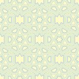 Geometric seamless pattern. Beige background with blue and green elements. For wallpapers, textile and fabrics Royalty Free Stock Photos