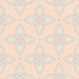 Geometric seamless pattern. Beige background with violet and blue elements. For wallpapers, textile and fabrics Royalty Free Stock Photos