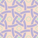 Geometric seamless pattern. Beige background with violet and blue elements. For wallpapers, textile and fabrics Royalty Free Stock Image