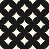 Geometric seamless pattern with big rhombuses, curved diamonds. Vector seamless pattern with big rhombuses, curved diamond shapes. Simple abstract monochrome Stock Photos