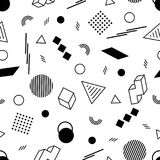 Geometric Seamless Pattern of Black Figures on White Backdrop. Continued Monochrome Background in Memphis Style Royalty Free Stock Photography