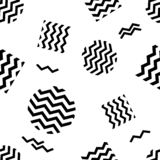 Geometric seamless pattern with black striped circles and squares. Vector illustration stock illustration