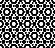 Geometric seamless pattern, black & white hexagons Royalty Free Stock Photography