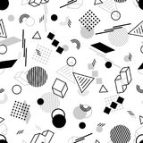 Geometric Seamless Pattern of Blackand Grey Figures on White Bac. Kdrop. Continued Monochrome Background in Retro Style Stock Photo