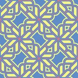 Geometric seamless pattern. Blue background with red and yellow design. For wallpapers, textile and fabrics Stock Photography