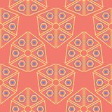 Geometric seamless pattern. Bright red background with blue and yellow design. For wallpapers, textile and fabrics Royalty Free Stock Photography