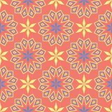 Geometric seamless pattern. Bright red background with blue and yellow design. For wallpapers, textile and fabrics Stock Photography