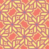 Geometric seamless pattern. Bright red background with blue and yellow design. For wallpapers, textile and fabrics Stock Photos