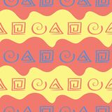 Geometric seamless pattern. Bright red background with blue and yellow design. For wallpapers, textile and fabrics Royalty Free Stock Image
