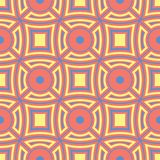 Geometric seamless pattern. Bright red background with blue and yellow design. For wallpapers, textile and fabrics Royalty Free Stock Photo