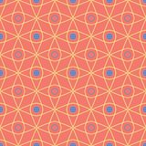Geometric seamless pattern. Bright red background with blue and yellow design. For wallpapers, textile and fabrics Stock Images
