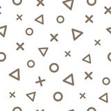 Geometric seamless pattern with brown triangles, crosses and circles on white background. Vector stock illustration