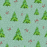 Geometric seamless pattern. Christmas background with green tree Royalty Free Stock Photo