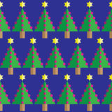 Geometric seamless pattern Christmas trees, pink baubles, and star in two shades on dark blue background Stock Photos