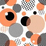 Geometric seamless pattern with circles, stripes, dots. Stock Image