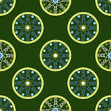 Geometric seamless pattern, circles with unusual pattern inside Royalty Free Stock Photos