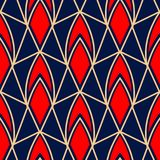 Geometric seamless pattern. Colored red and beige design on blue background. For wallpapers, textile and fabrics Stock Image
