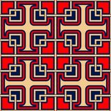 Geometric seamless pattern. Colored red and beige design on blue background. For wallpapers, textile and fabrics Royalty Free Stock Photography