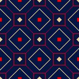 Geometric seamless pattern. Colored red and beige design on blue background. For wallpapers, textile and fabrics Royalty Free Stock Photo