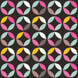 Geometric seamless pattern with colorful circles in retro design Royalty Free Stock Images