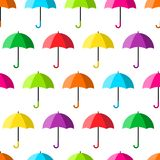 Geometric seamless pattern with colorful open umbrellas. Vector illustration royalty free illustration