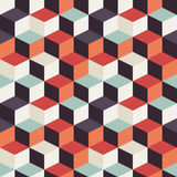 Geometric seamless pattern with colorful squares in retro design Royalty Free Stock Photos