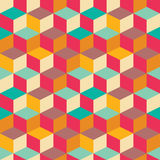 Geometric seamless pattern with colorful squares in retro design Stock Image