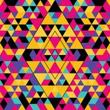 Geometric seamless pattern with colorful triangles. Pink, yellow, black and purple. vector illustration